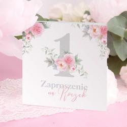 ZAPROSZENIA na Roczek dziewczynki Kwiatowa Jedynka 10szt (+koperty)