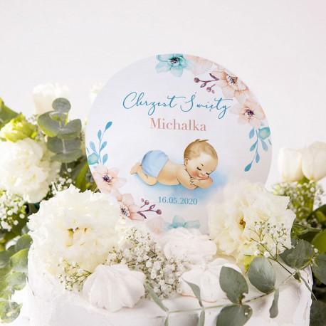TOPPER na tort Chrzest Chłopiec w Kwiatach Z IMIENIEM