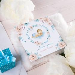 ZAPROSZENIE na Chrzest personalizowane Chłopiec w Kwiatach (+koperta z wnętrzem+naklejka)