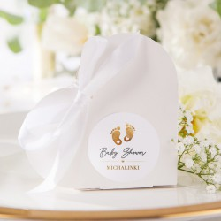 PUDEŁECZKA serca Złote Stópki Baby Shower (+etykiety z imieniem+białe wstążki) 10szt