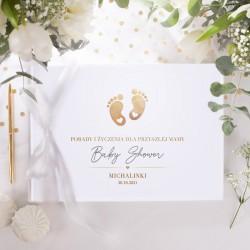 KSIĘGA Porady i Życzenia dla Przyszłej Mamy Złote Stópki Baby Shower Z IMIENIEM (+biała wstążka)