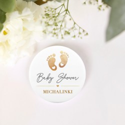 PRZYPINKA personalizowana Złote Stópki Baby Shower Z IMIENIEM