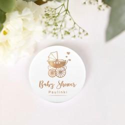 PRZYPINKA personalizowana Złoty Wózeczek Baby Shower Z IMIENIEM