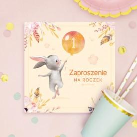 ZAPROSZENIA na Roczek Pastelowy Króliczek z balonem 10szt (+koperty)