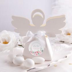 PUDEŁECZKA Aniołek na Chrzest Różowy Wózeczek 10szt (+etykiety z imieniem+białe wstążki)