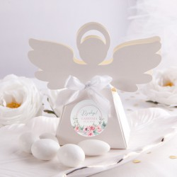 PUDEŁECZKA Aniołek Różowy Wózeczek 10szt (+etykiety z imieniem+białe wstążki)