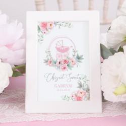 TABLICZKA na stolik Różowy Wózek (+ramka)