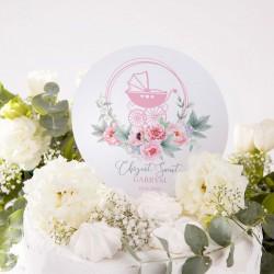 TOPPER na tort personalizowany na Chrzest Kwiatowy Wózek RÓŻ Z IMIENIEM
