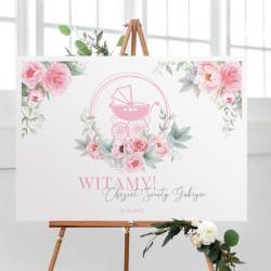 PLAKAT na Chrzest Różowy Wózek Z IMIENIEM 50x70cm