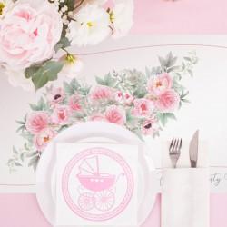 BIEŻNIK z imieniem na Chrzest Różowy Wózeczek 42cmx5m