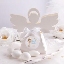 PUDEŁECZKA Aniołek na Chrzest Niebieski Aniołek NEW 10szt (+etykiety z imieniem+białe wstążki)