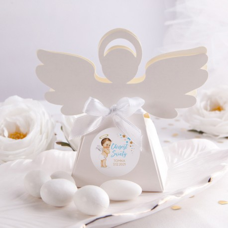 PUDEŁECZKA Aniołek Niebieski Aniołek 10szt (+etykiety z imieniem+białe wstążki)