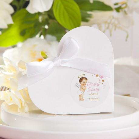 PUDEŁECZKA Serca Różowy Aniołek (+etykiety z imieniem+białe wstążki) 10szt