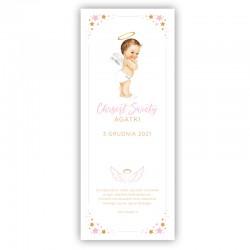 KAKEMONO personalizowane + listwa 60x150cm na Chrzest Różowy Aniołek