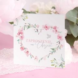 ZAPROSZENIA na Chrzest dla dziewczynki Różowe Serce 10szt (+koperty)