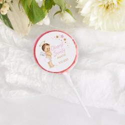 LIZAKI Smaki Dzieciństwa na Chrzest Różowy Aniołek NEW 10szt (+etykiety z imieniem)