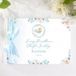KSIĘGA Pamiątkowa Chrztu Świętego Chłopiec w Kwiatach Z IMIENIEM (+błękitna wstążka)