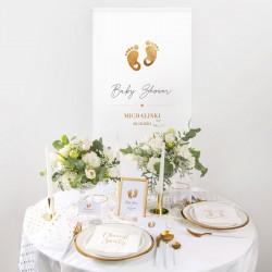 KAKEMONO personalizowane + listwa 60x150cm Baby Shower Złote Stópki