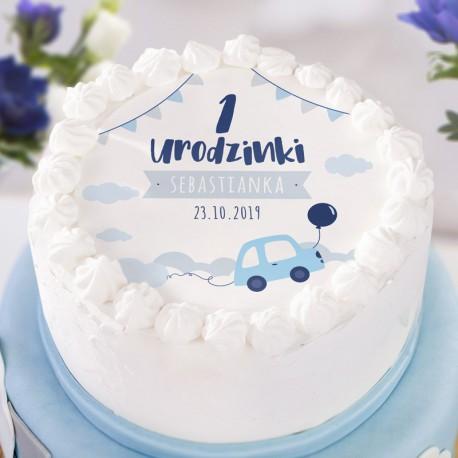 OPŁATEK na tort personalizowany na Roczek i Urodziny dziecka Autka Ø20cm