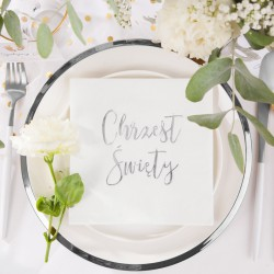 ZESTAW dekoracji stołu na Chrzest z napisem SREBRNYM 5% TANIEJ