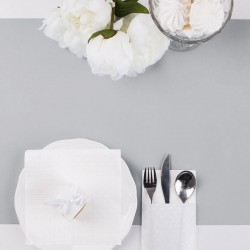 ZESTAW dekoracji stołu na Chrzest i Komunię SREBRNY 5% TANIEJ
