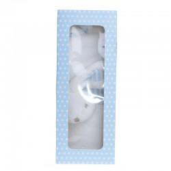 PREZENT na Chrzest Roczek Narodziny KOCYK z króliczkiem w pudełku NIEBIESKI