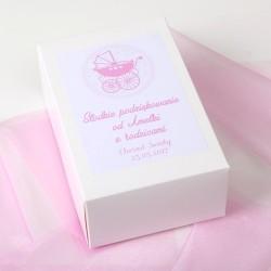 PUDEŁKA na ciasto z IMIENIEM Różowy Wózek 10szt