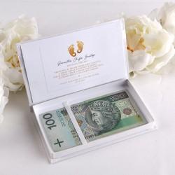 PAMIĄTKA Chrztu Świętego pudełko na pieniążki Z IMIENIEM Złote Stópki