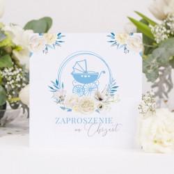 ZAPROSZENIA na Chrzest Kwiatowy Wózek BŁĘKIT 10szt (+koperty)