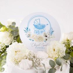TOPPER na tort personalizowany Kwiatowy Wózek BŁĘKIT Z IMIENIEM