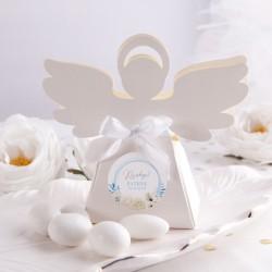 PUDEŁECZKA Aniołek Kwiatowy Wózek BŁĘKIT 10szt (+etykiety z imieniem+białe wstążki)