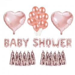ZESTAW balonów na Baby Shower ROSEGOLD różowe złote MEGA