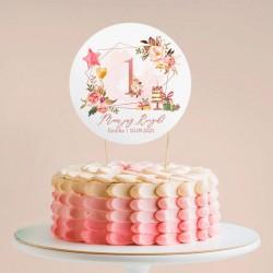 TOPPER na tort Rosegold Roczek Z IMIENIEM