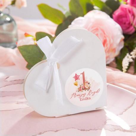 PUDEŁECZKA serca Rosegold Roczek (+etykiety z imieniem+białe wstążki) 10szt