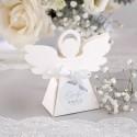 PUDEŁECZKA Aniołek na Chrzest i Komunia w Srebrze 10szt (+etykiety z imieniem+białe wstążki)