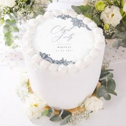 OPŁATEK personalizowany na tort Chrzest w Srebrze Ø20cm