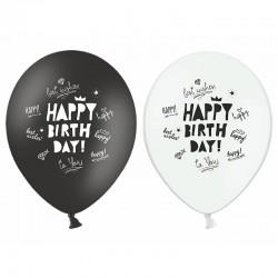 BALONY Happy Birthday czarno-białe 30cm 6szt MIX