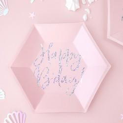 TALERZYKI urodzinowe Happy Birthday HOLO 20cm 6szt