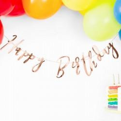 BANER urodzinowy metaliczny Happy Birthday ROSEGOLD