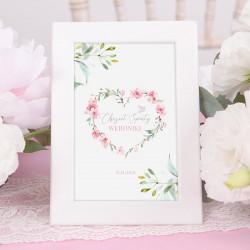 TABLICZKA na stolik na Chrzest dziewczynki Różowe Serce (+ramka)