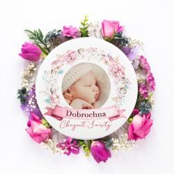 MAGNES ze zdjęciem dziecka na Chrzest Subtelny Róż