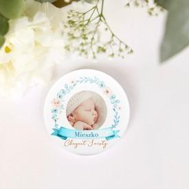 MAGNES ze zdjęciem dziecka na Chrzest Chłopiec w Kwiatach