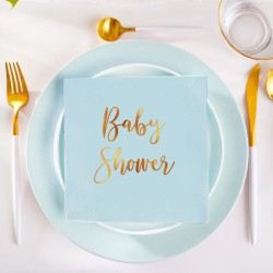SERWETKI ze złotym napisem Baby Shower 33x33cm 20szt BŁĘKITNE KONIEC SERII
