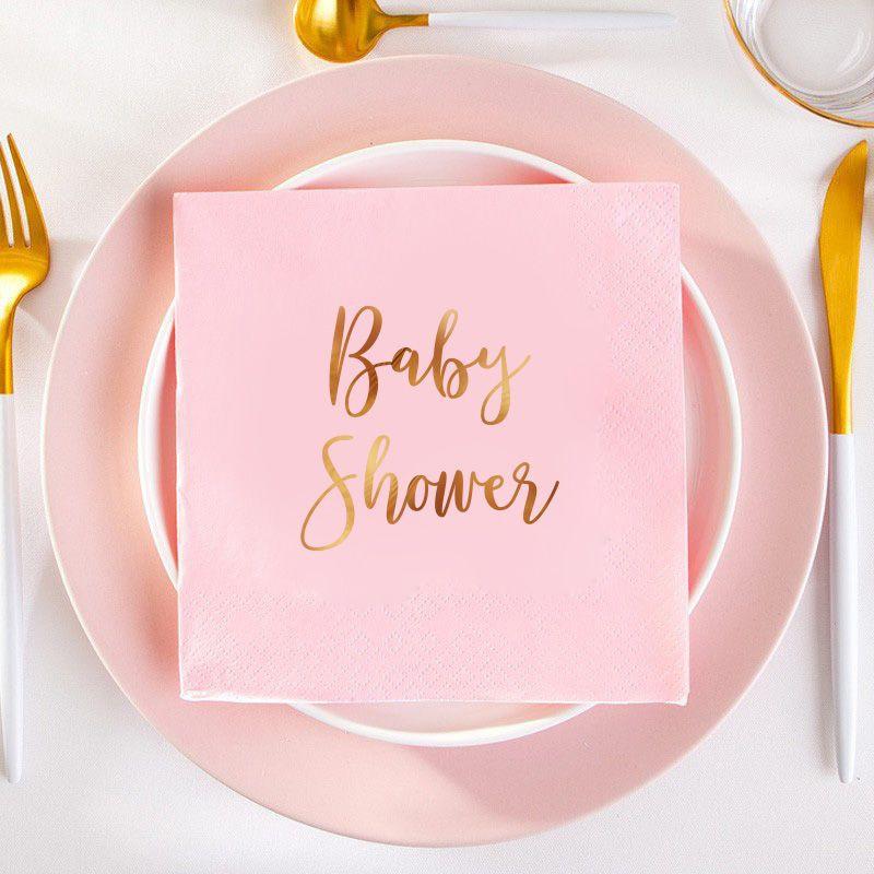 serwetki na Baby Shower różowe