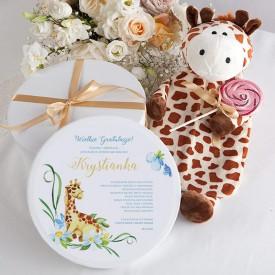 PREZENT na narodziny dziecka TERMOFOR Żyrafa w pudełku