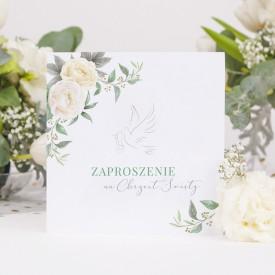 ZAPROSZENIA na Chrzest Kremowe Kwiaty 10szt (+koperty)