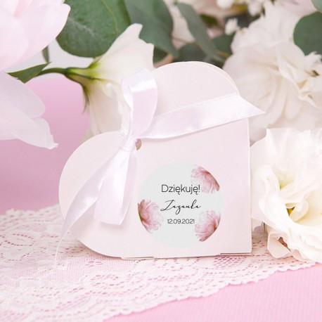 PUDEŁECZKA SERCA Romantyczna Piwonia (+etykiety z imieniem+białe wstążki) 10szt