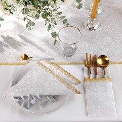 ZESTAW dekoracji stołu na Chrzest SREBRNO-ZŁOTY 5% TANIEJ