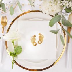 ZESTAW dekoracji stołu na Chrzest ZŁOTE STÓPKI 5% TANIEJ