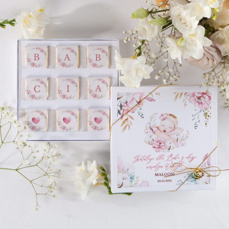 GRATULACJE dla Babci narodziny wnuczki BOMBONIERKA z czekoladkami DZIECIĘCA NIEWINNOŚĆ